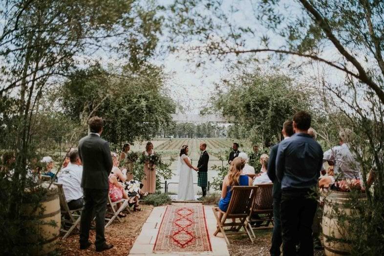 Outdoor wedding ceremony at Vinden Estate Homestead