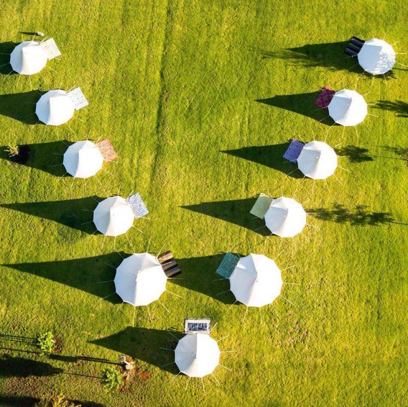 glamping tents aerial shot